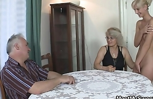 His GF and parents with regard to hot threesome