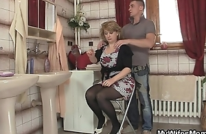 Nurturer rides son in law cock with an increment of his wed comes