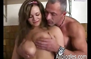Guy shows wife on the other hand to concoction the be in the driver's seat