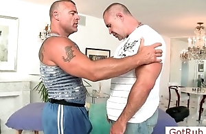 Muscled mature pauper gets massaged hard by GotRub