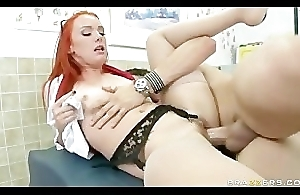 Redhead debase Dani Jensen gets her firecrotch examined unconnected with big-dick patient