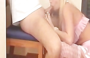 Hot blonde oral-job and having it away