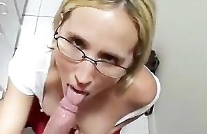 Sexy lascivious schoolgirl blow-job