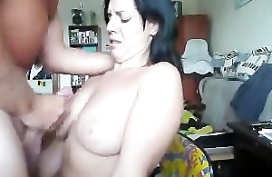 Hawt fit together gets a warm millstone of cum on her chest