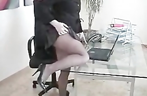 Secretary Slut Wearing Seamless Black Pantyhose Fingers Pussy elbow