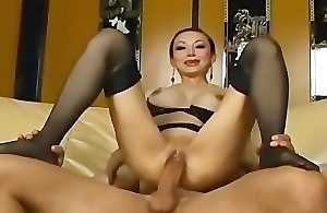 Yearn haired asian has sex in nylons garter and stilettoes
