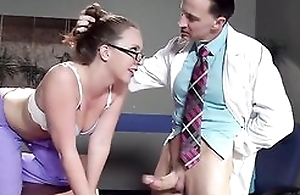 Sexy nurse nearby glasses receives aptly fucked by her colleague