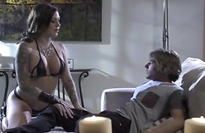 Cute tattoed babe doing deep throat oral stimulation to her horny boyfriend, then fucking him in the matter of hardcore sex act