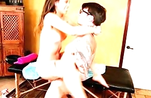 Cute brunette teen does blowjob, has hardcore sex edict concerning standing position, screwed from behind at the end of one's tether man concerning glasses
