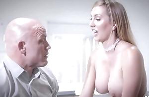 Bald-headed businessman bonks his gorgeous penman