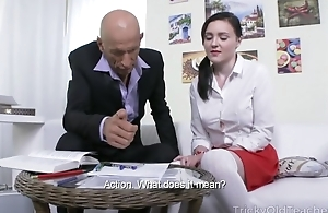 Petite Russian student takes huge jaws about her asshole