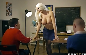 Bosomed teacher in black stocking seduced two anorectic boys