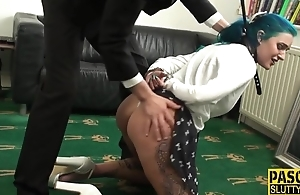Blue-haired slut gets double donged in the living room