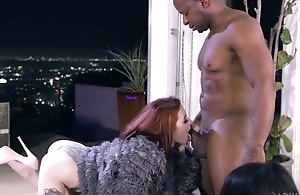 Slim redhead unspecified in high heels shagged by horny negro