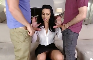 Sexy Russian MILF banged by her stepson and his best friend