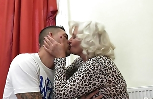 Perverted granny all over nylons and high heels shagged on the couch
