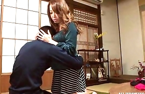 Sassy Japanese babe with ripsnorting tits satisfying lucky guy upon POV