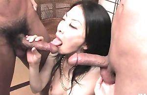 Passionate Asian lady yon big bosom pleasuring two horny studs