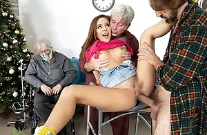 Victuals redhead cookie gets fucked by two scalding grandpas