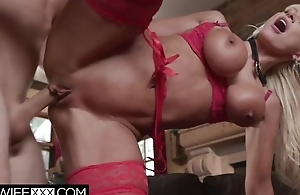 Dominate wife in sexy red lingerie gets screwed acquiescent and proper