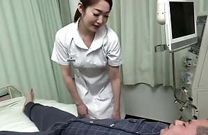 Beautiful Asian nurse gives her took place a sexy blowjob