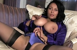 Lusty housewife in stockings plays with their way pill wet pussy