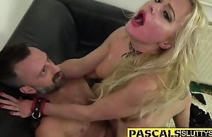 Nasty blonde chick with glasses receives drilled really hard
