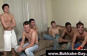 Bukkake loving gays suck dick