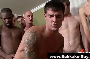 Bukkake doting gay takes black cock