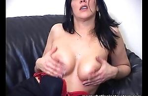 Experience titty fuck between nice big foamy tits