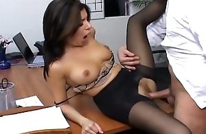 Busty secretary surrounding short hose has office copulation