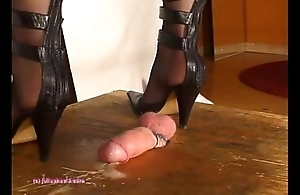 Beneath Indian Mistress Julie Singla'_s Soles who tramples cock with heeljob