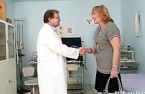 Redhead granny scurrilous pussy distension in gyn clinic