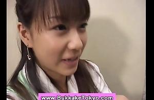 Bukkake facial for japanese sweetheart