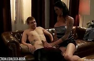Hunger legged brunette ladyboy gives handjob with engulfing on well-known Hawkshaw