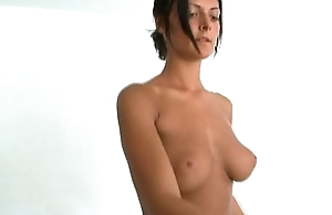 brunette just about big pair in burnish apply gym