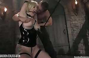 The man dominates on subjection peaches babe in latex