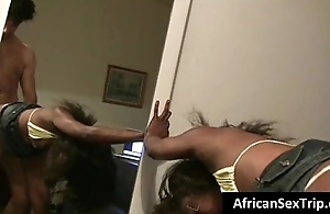 Booty African newborn hardcore fucked by waxen Bf on homemade