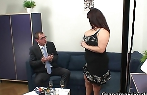 Mature fatty takes two cocks after photosession